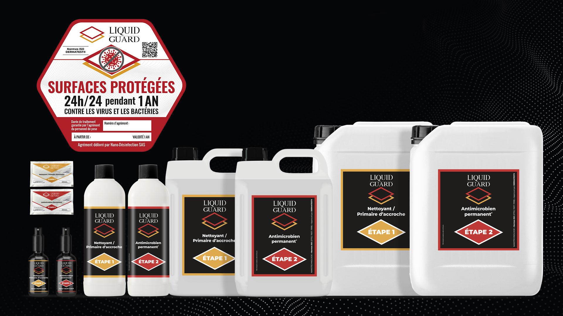 Produits Liquid Guard de la société Nano-Desinfection, kit lingettes, nettoyants et antimicrobien permanent