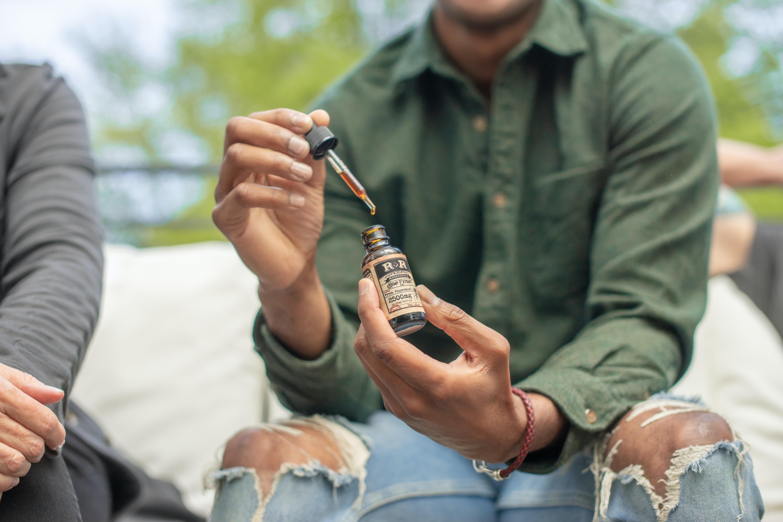 Man using cannabis oil