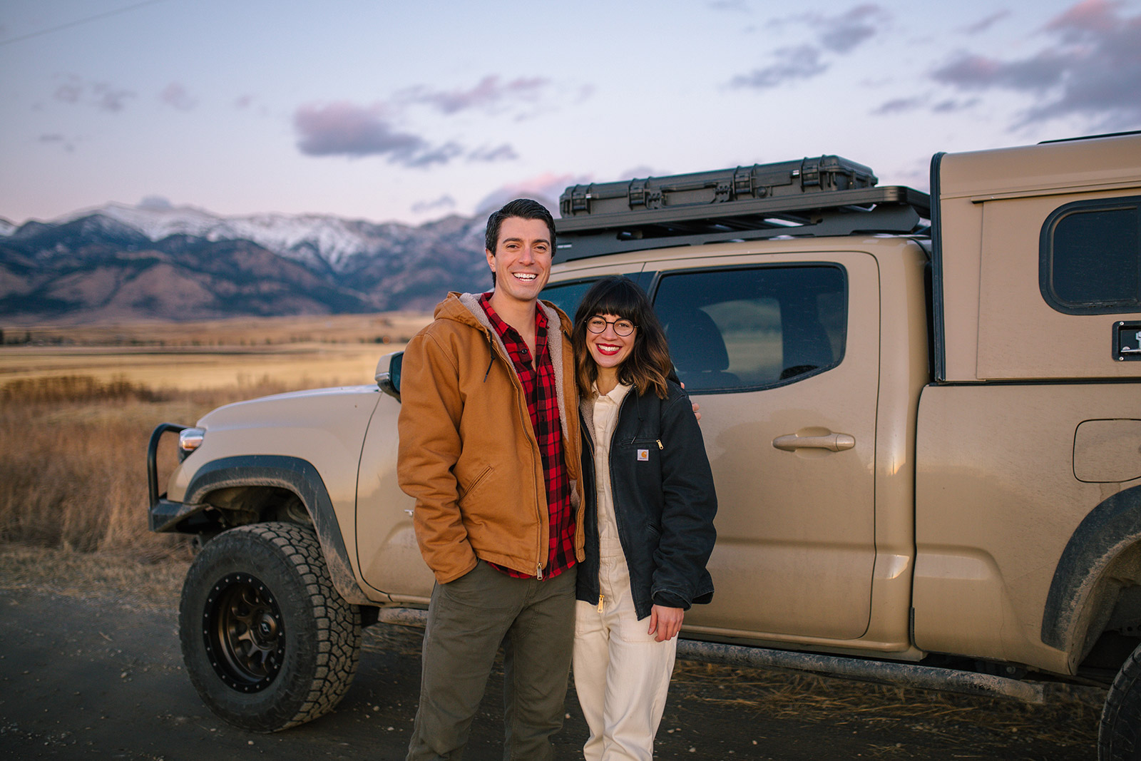 Briana and Joanna pose for their Montana photography session in front of the Bridger Mountains.