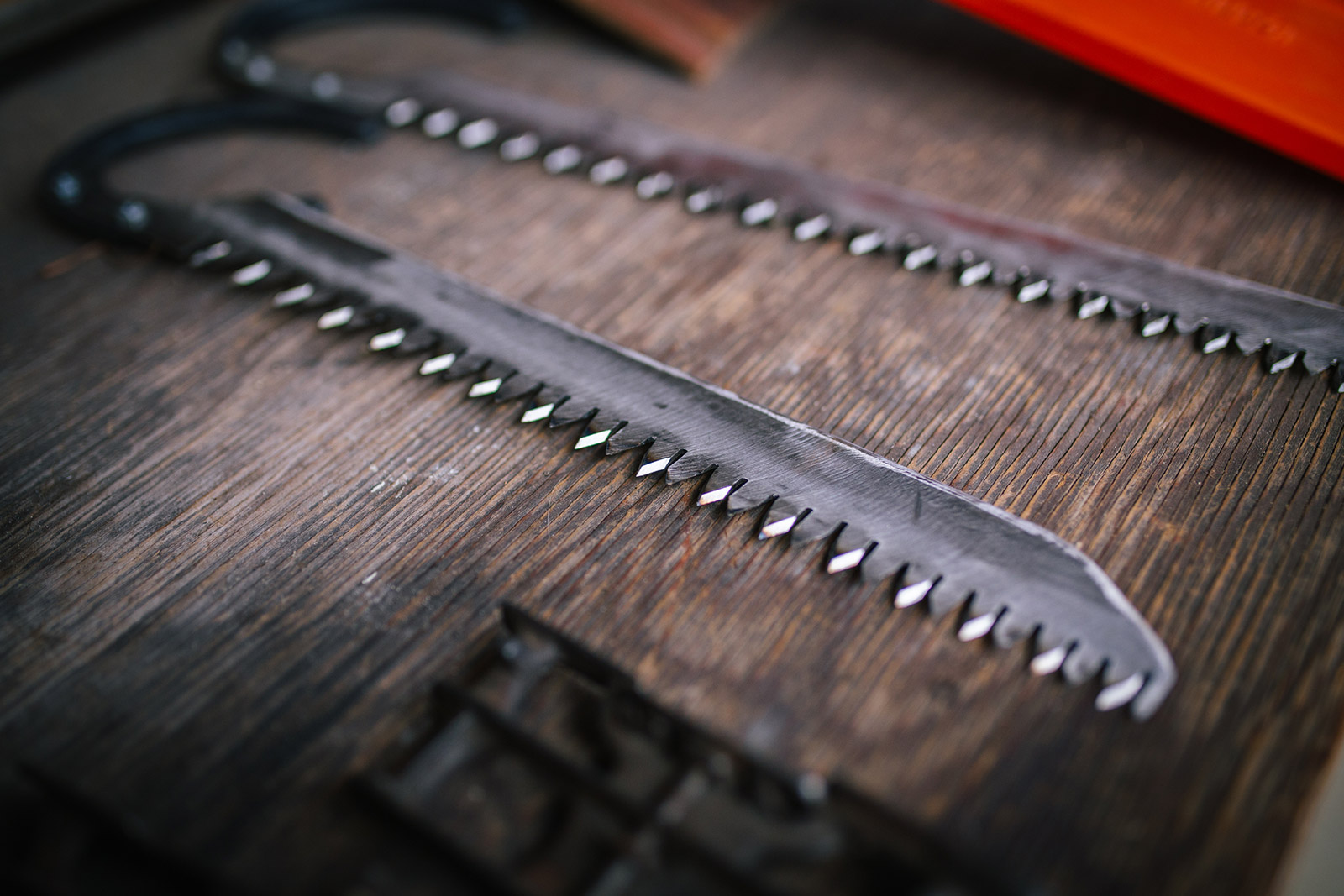 In this Montana photography session, Phil Crist shows his hand-built saw.