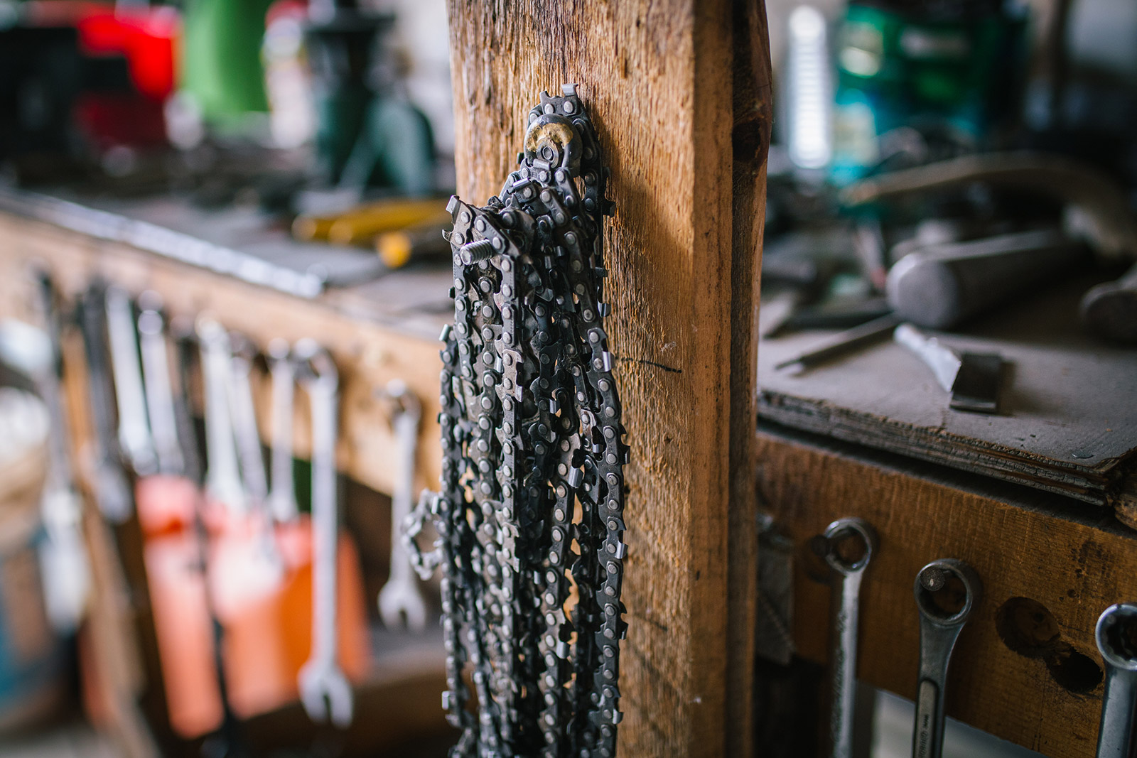 In this Montana photography session, Phil Crist shows the equipment used to build his saws.