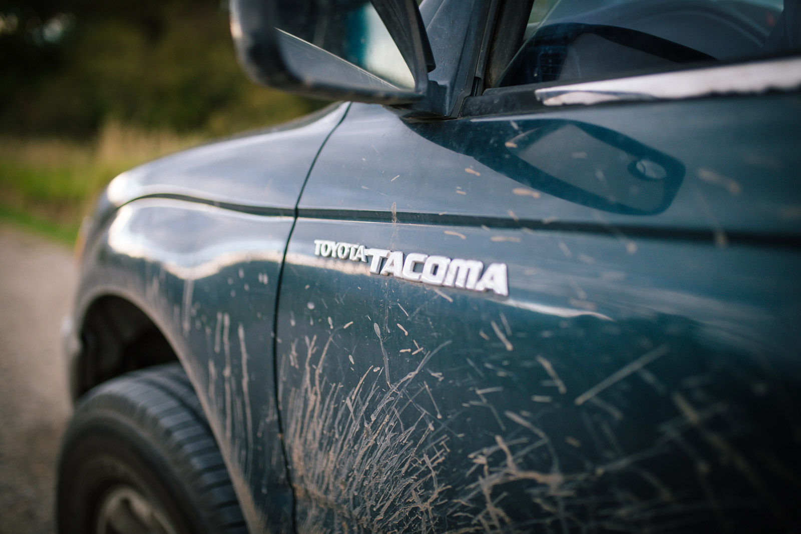 The side of Patrick Burr's Toyota Tacoma in this Montana photography session.
