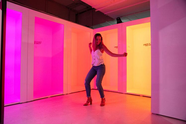 rose mansion-pop-up-design-multi color light rooms