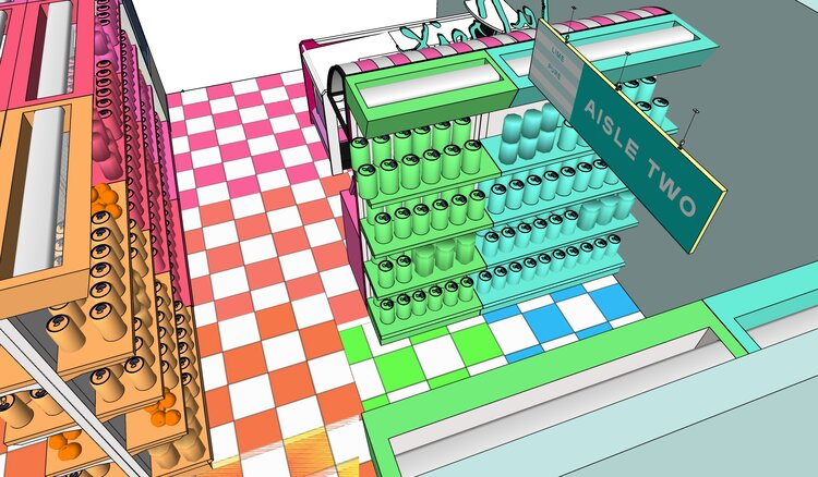 3D sketch of La croix booth at Eatscon-rainbow3