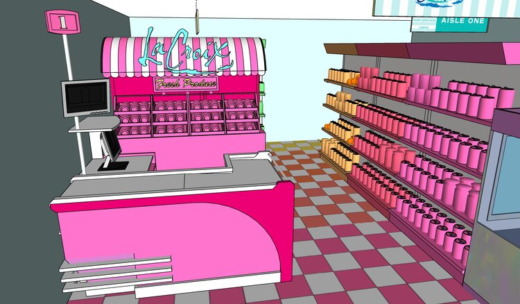 3D sketch of La croix booth at Eatscon-rainbow