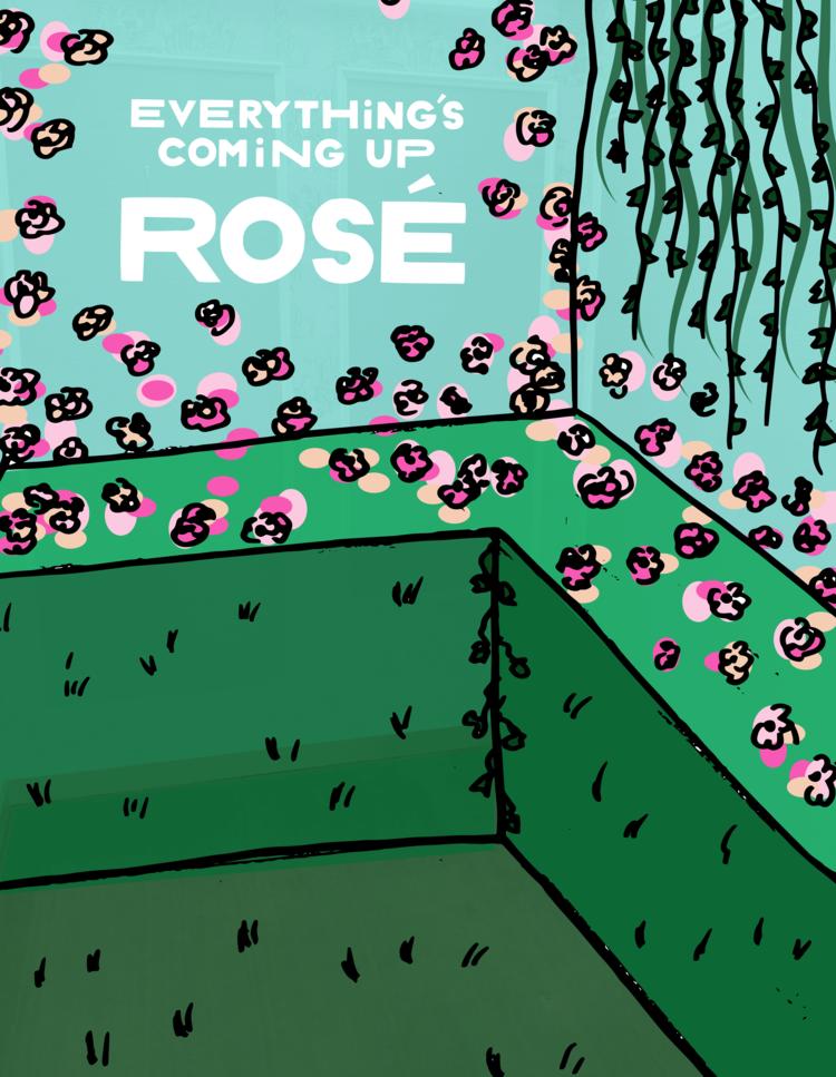 rose mansion - pop up - rose garden sketch 2