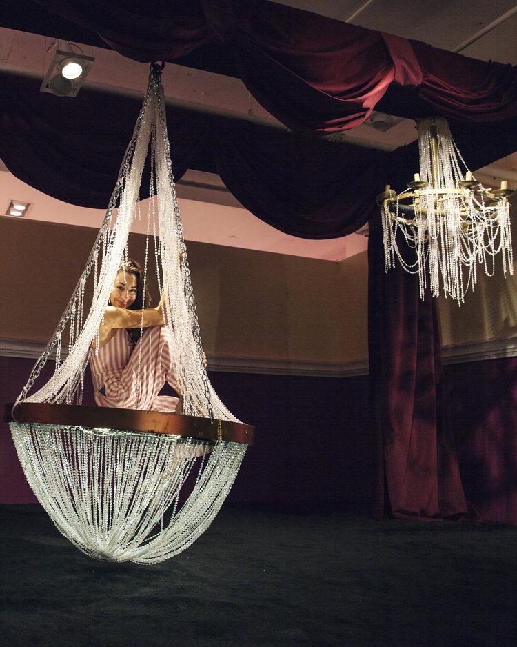 rose mansion - pop up - chandelier swing
