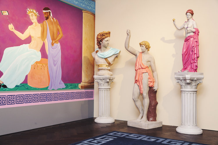 rose mansion - pop up - painted statues