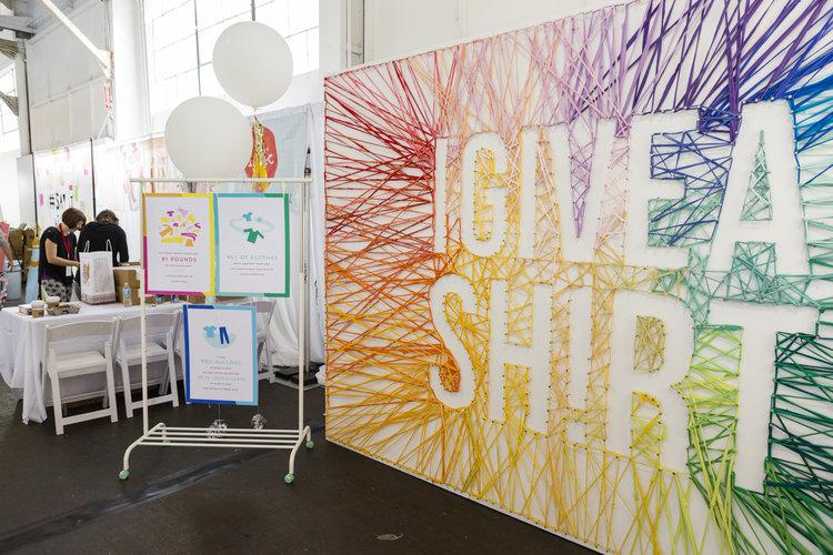 Brit + Co - remake - rainbow shirt wall