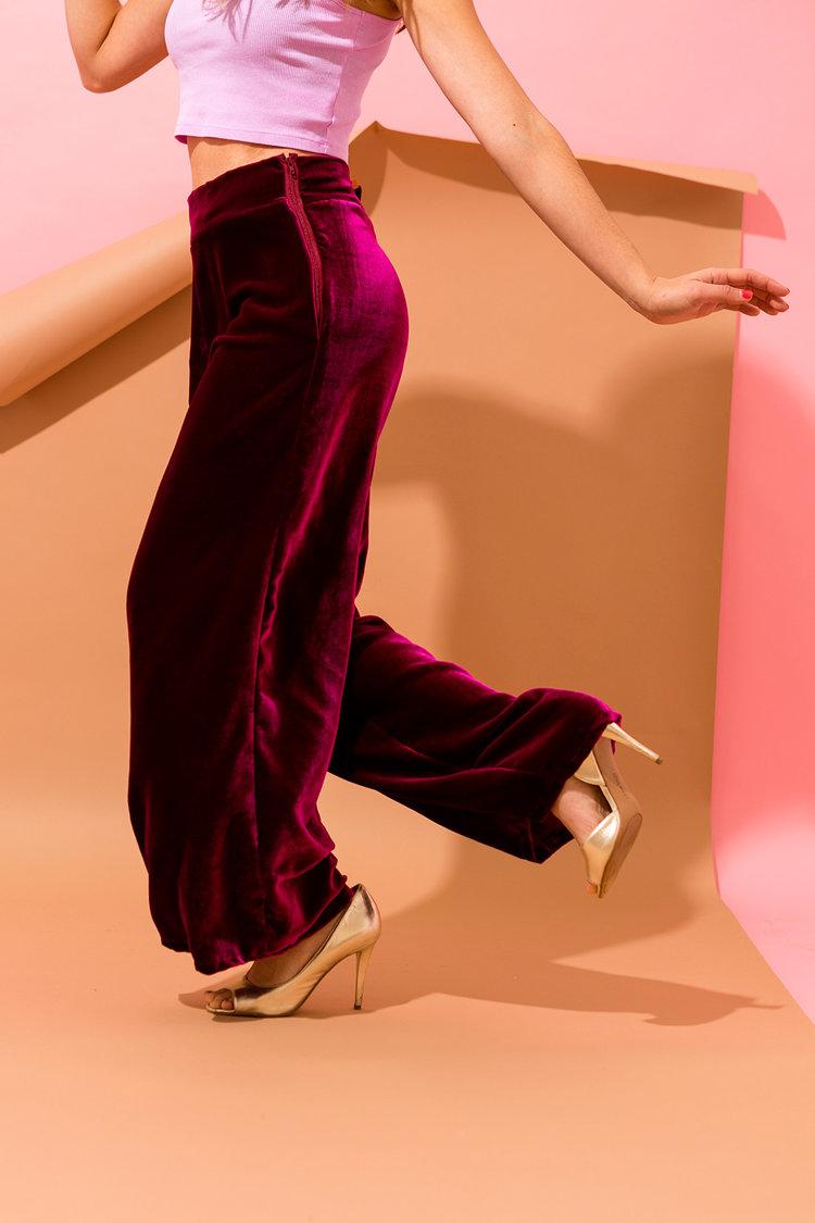 Brit + Co - velvet wide legged pants