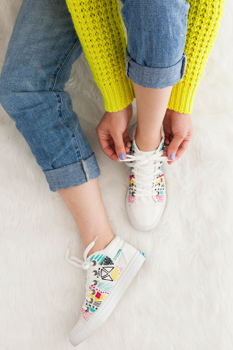Brit + Co - embroidered sneakers