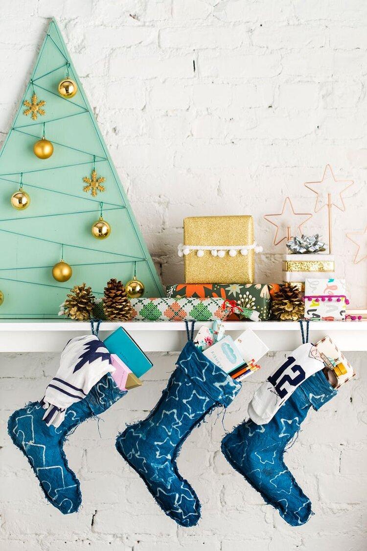 Brit + Co - indigo stockings