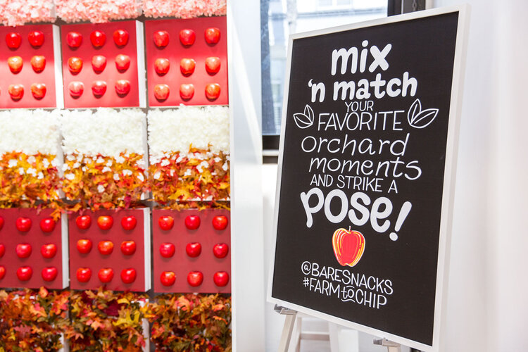 bare snacks - photo booth - sign