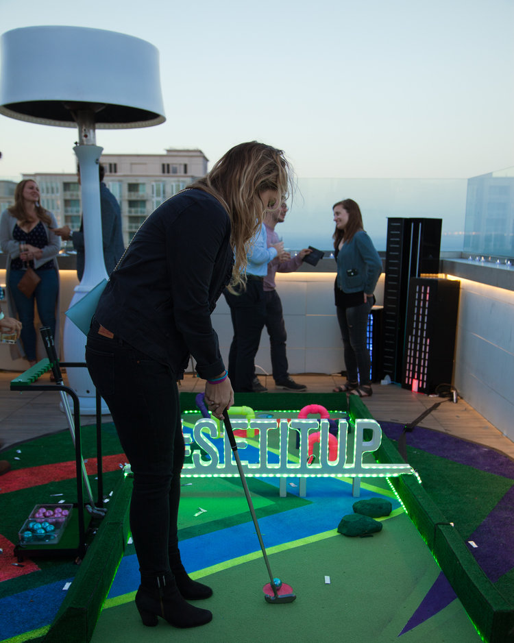 Netflix - event party - golf course - playing golf