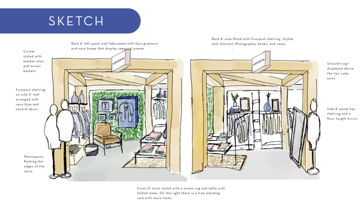 Untuckit - retail space - mall of America - sketch