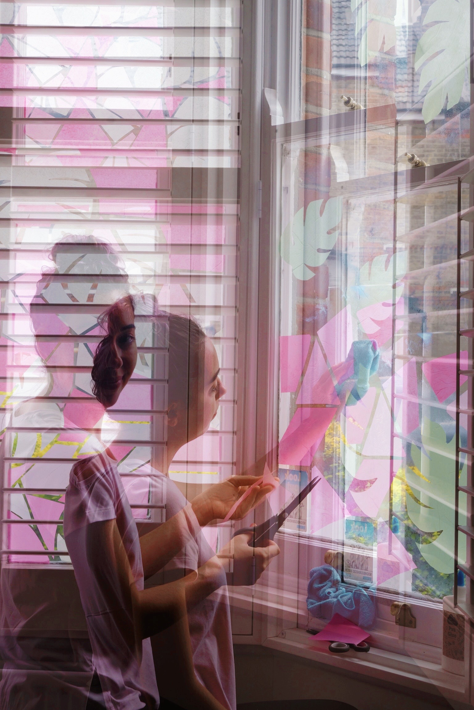 double exposure art process window design art installation stained glass