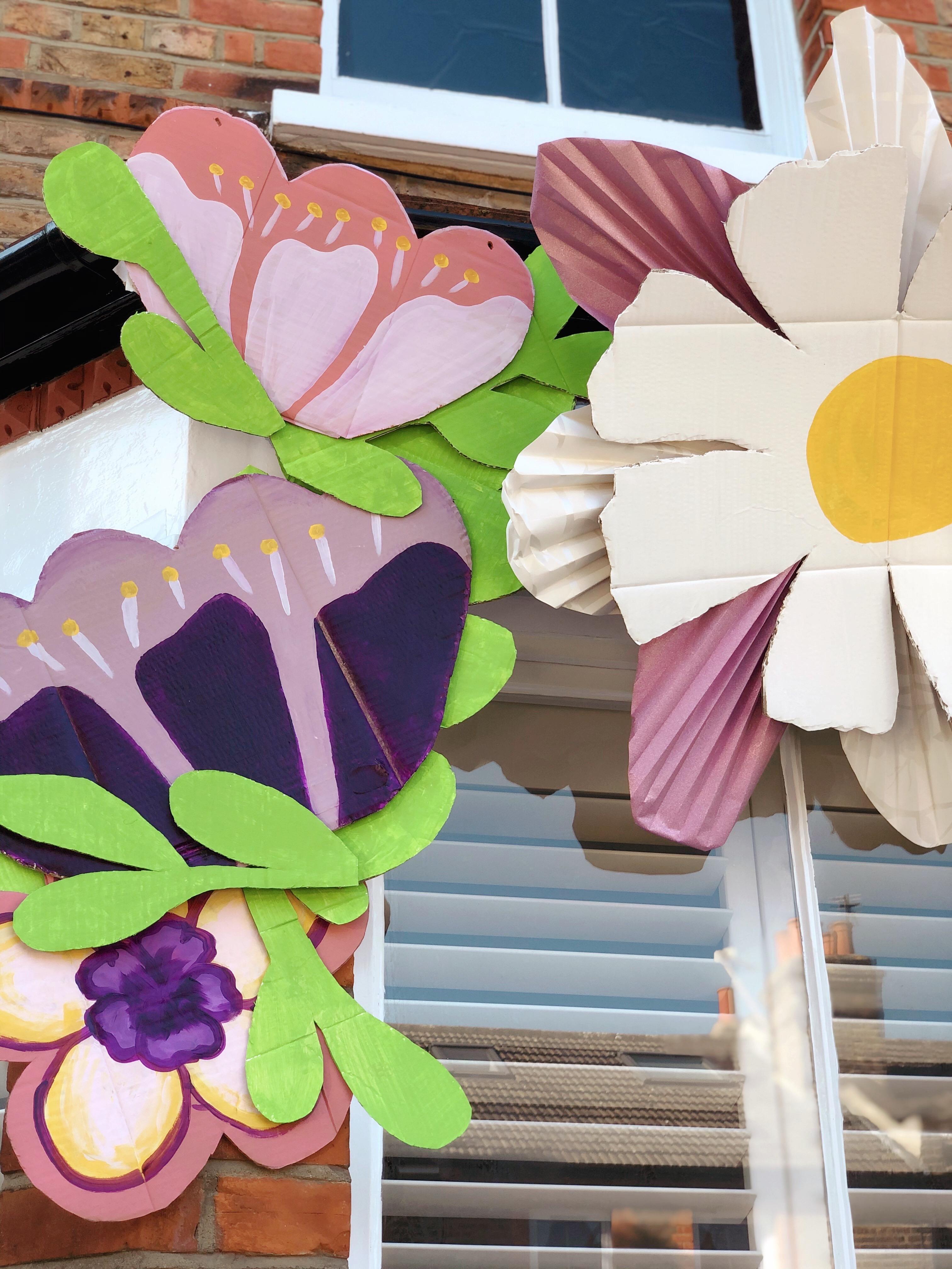 paper florals art installation house installation