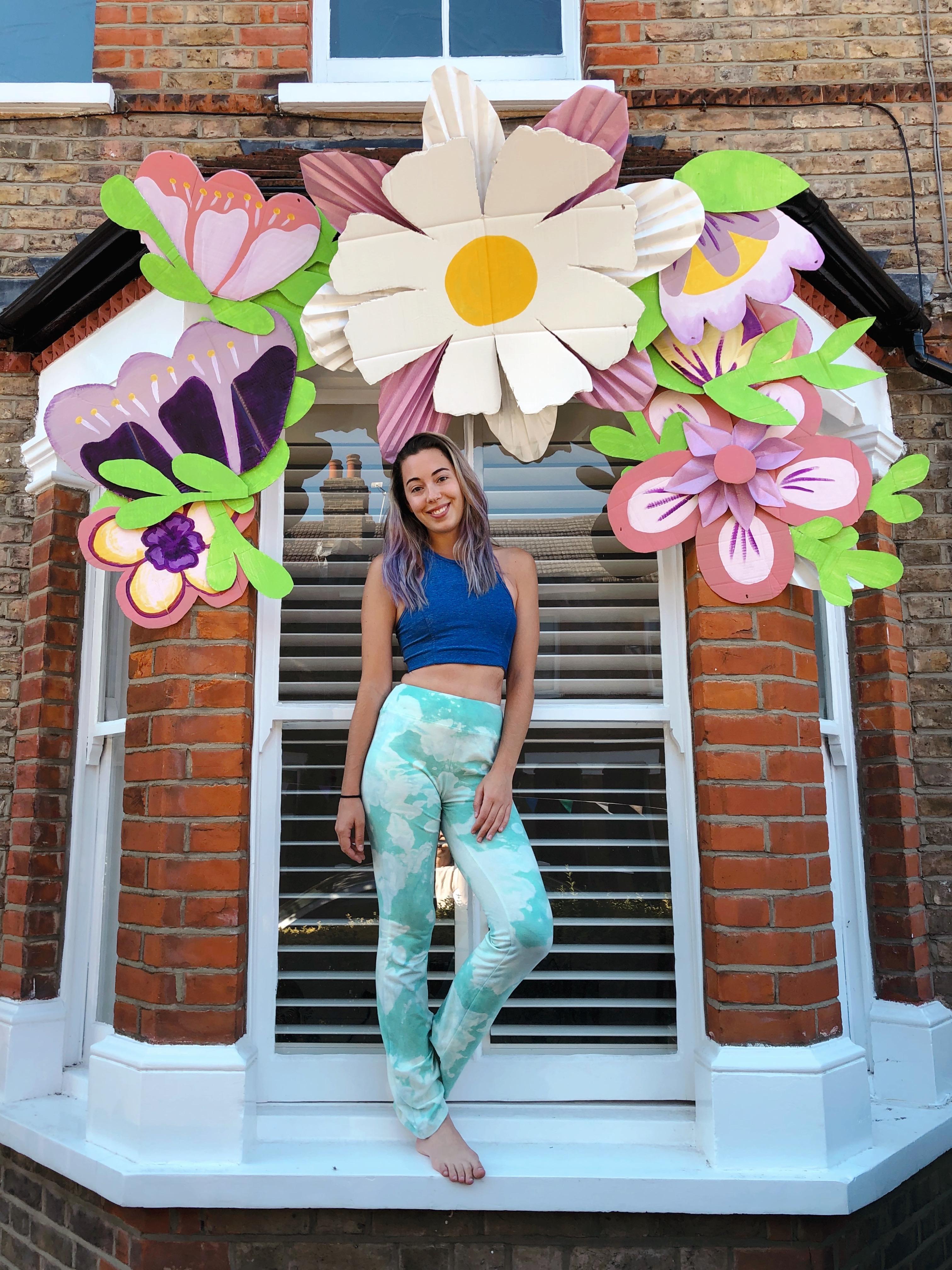 flower crown house installation, paper flowers, art installation, creative director
