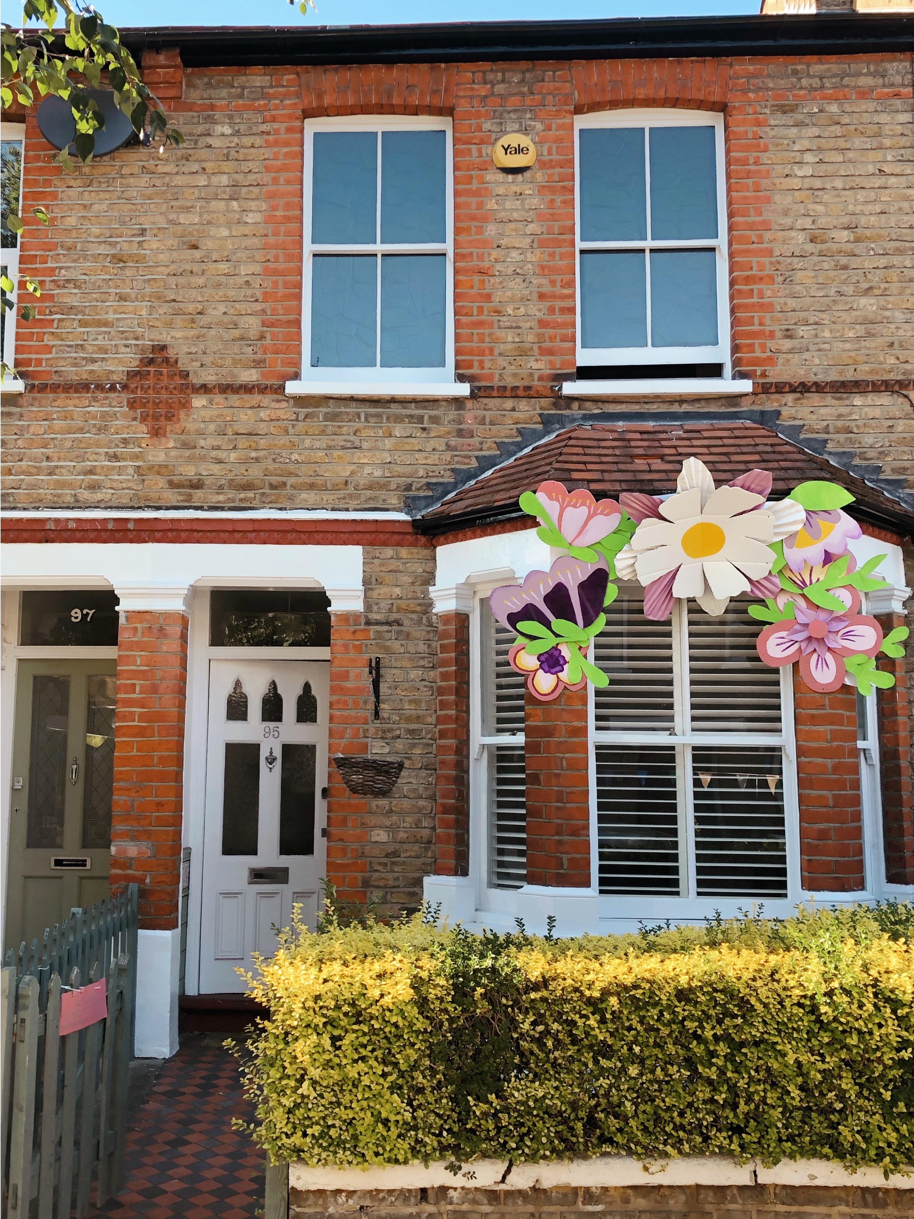 house flower crown - art installation house
