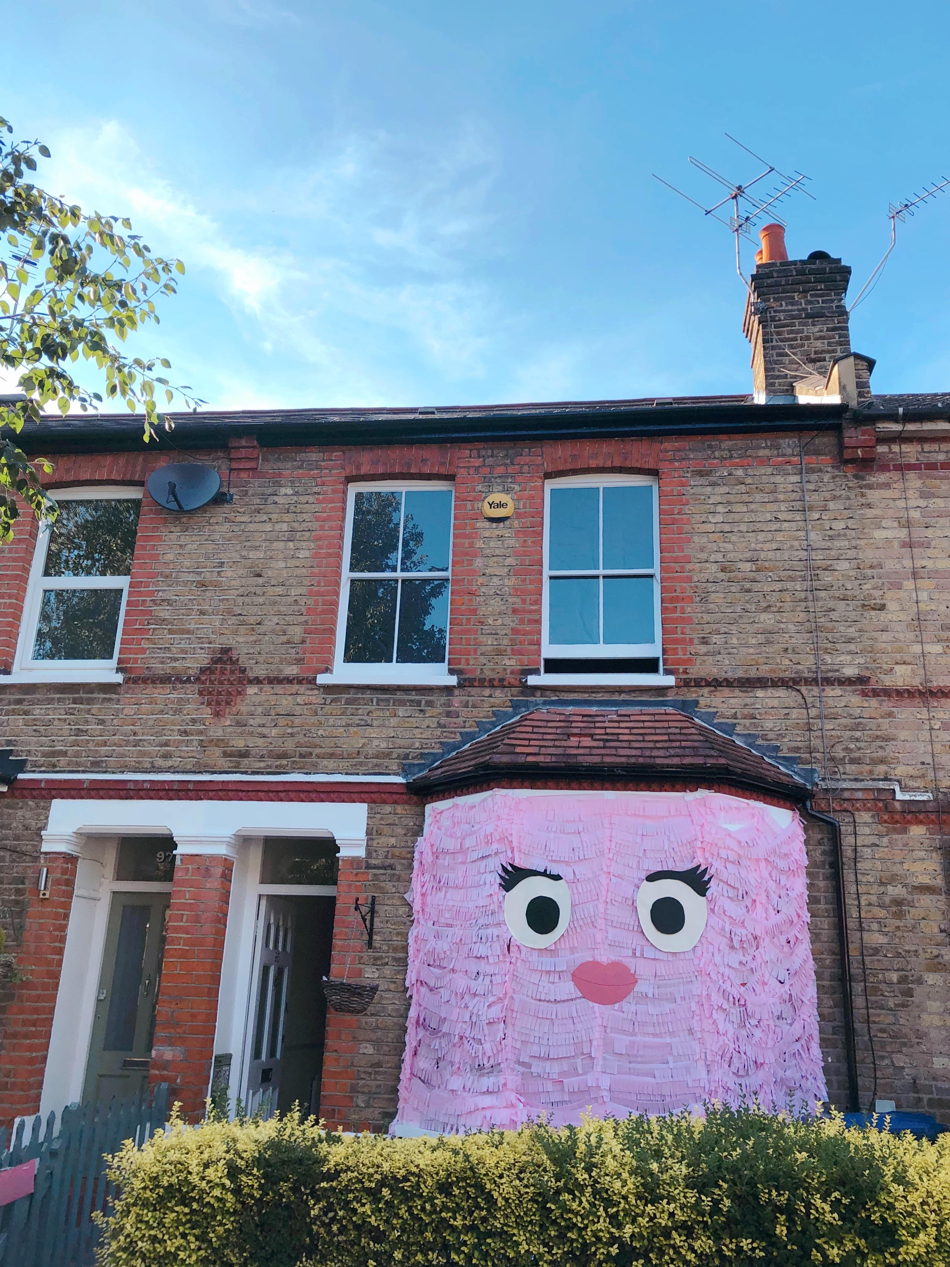cute pink monster house, art installation