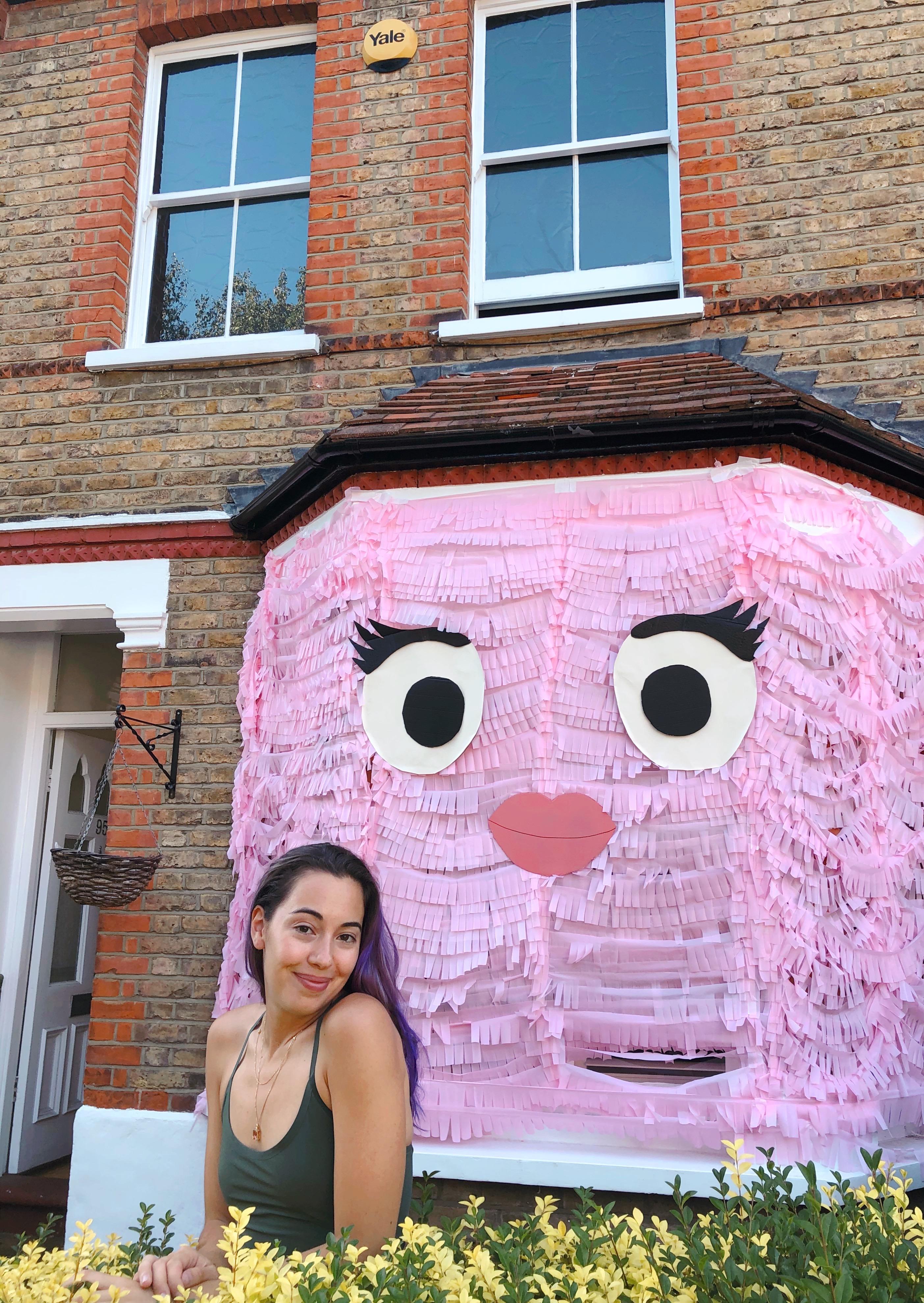 cute monster house, pink, art installation, creative director