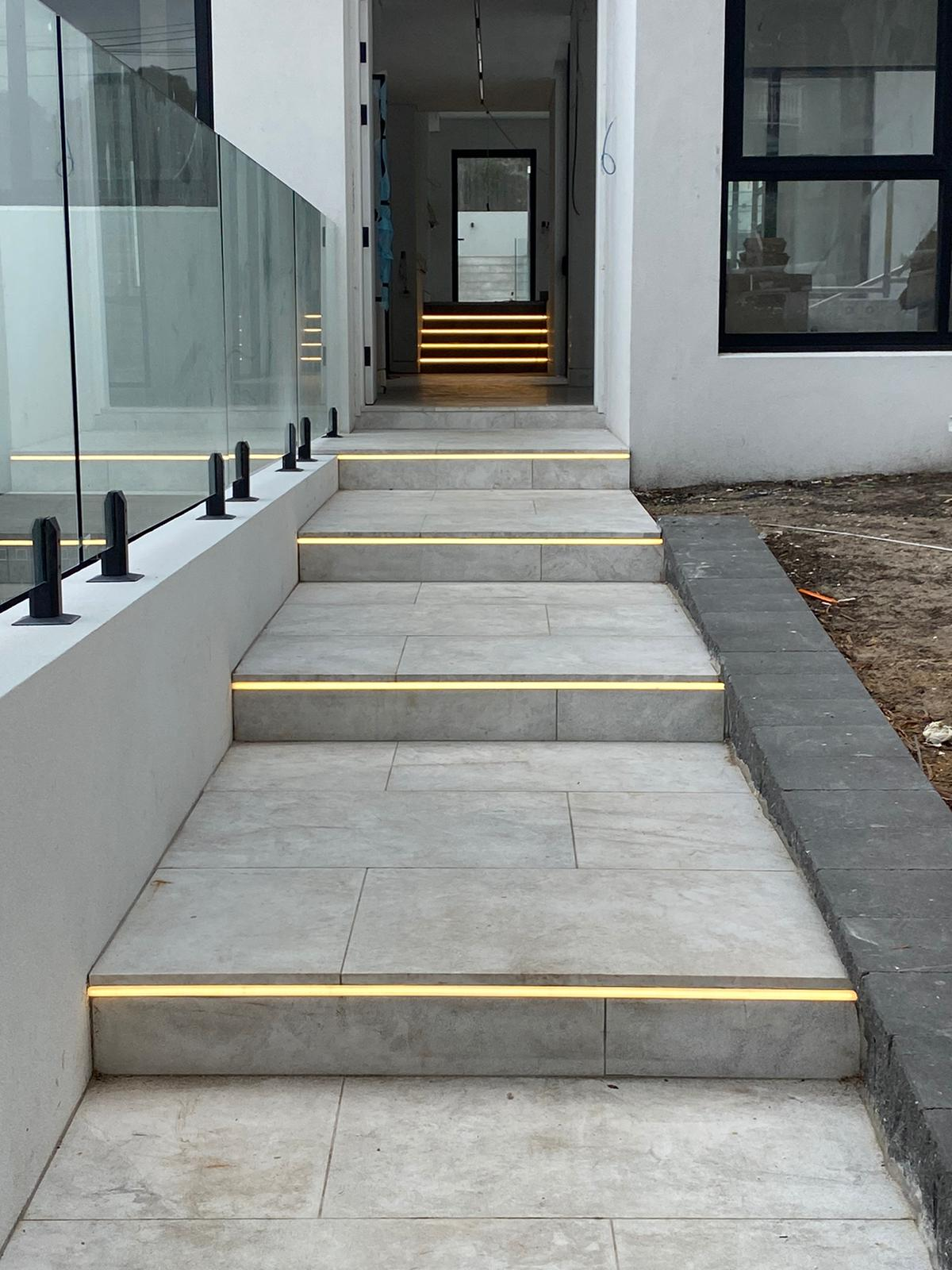 LED installation stairs local electrician justflow electrical Beacon Lighting Bunnings lighting