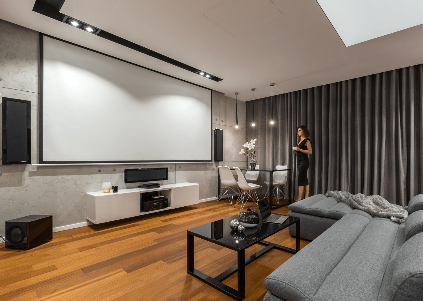 A luxury home theatre system controlled by Control4 and Toyama's home automation.