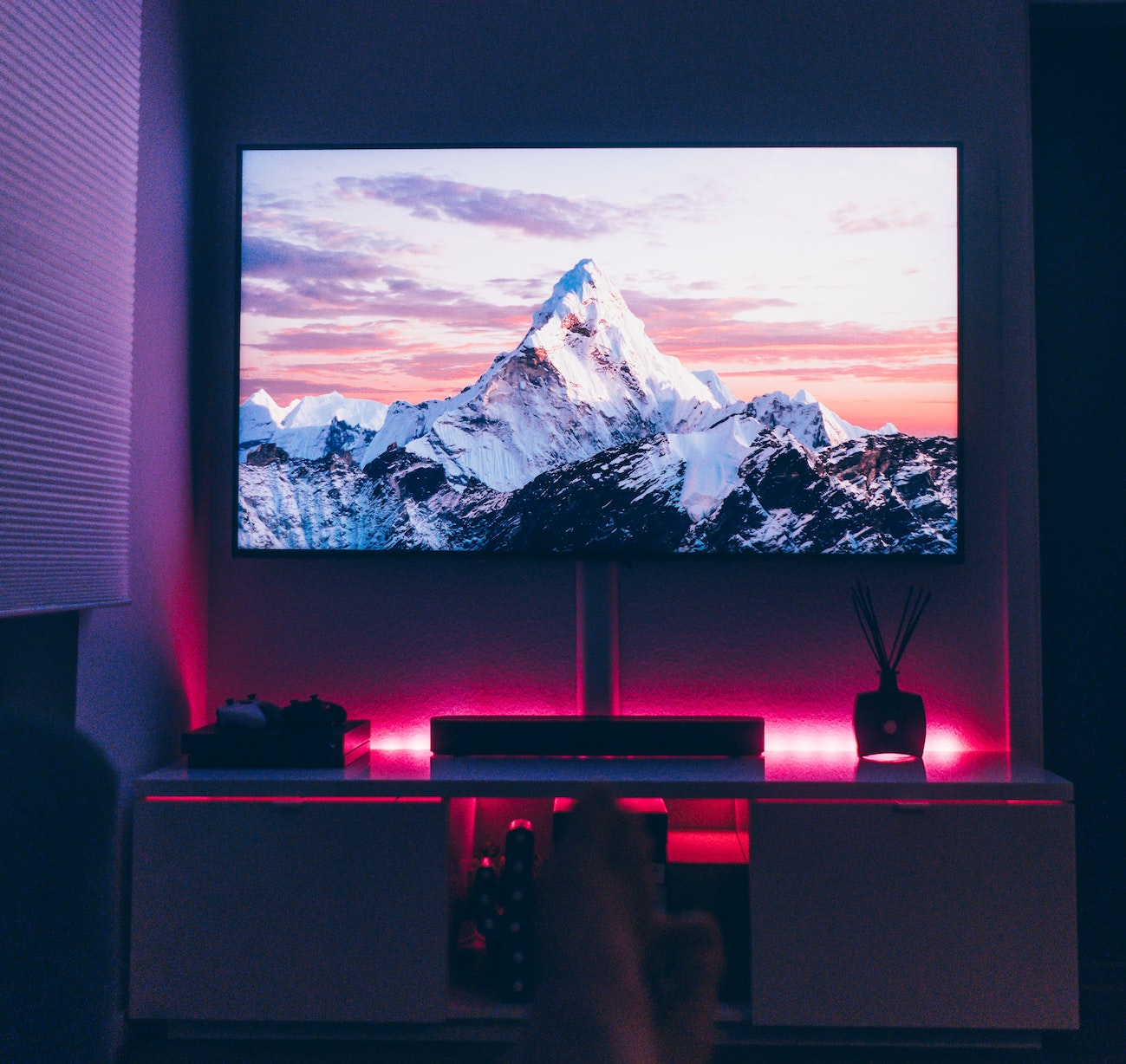 A home theatre with RGB lighting
