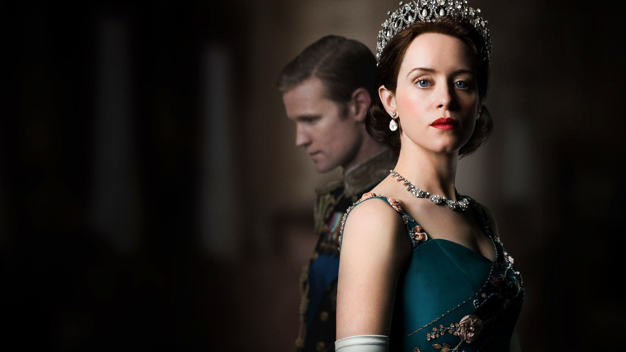 The poster for the critically acclaimed Netflix TV series, The Crown.