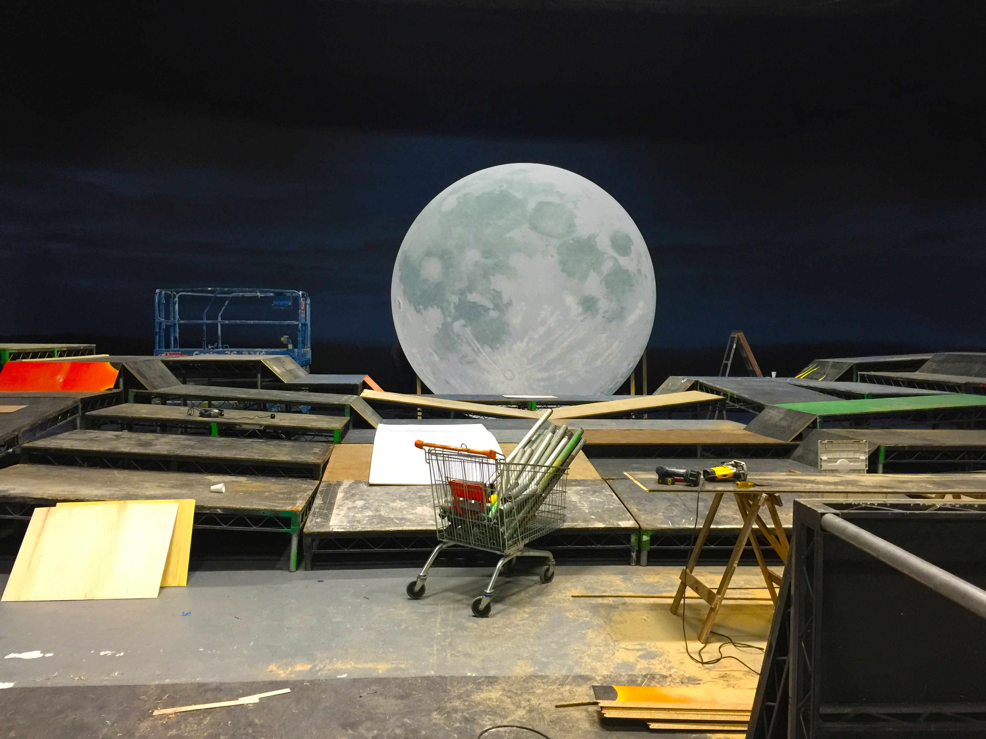 The mid-setup of a fly system of a moon done by our rigging labour.