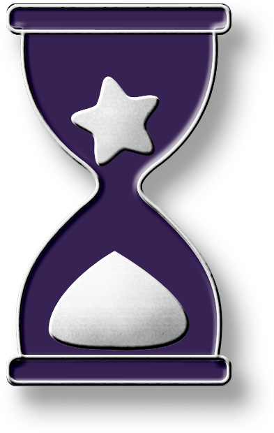 An enamel pin in the shape of a purple hourglass with a star in the top part and sand in the bottom part