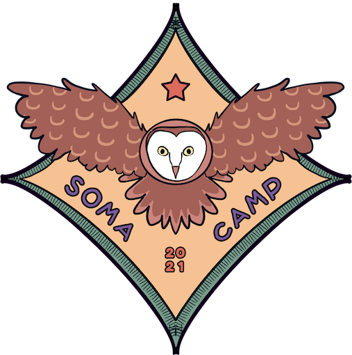 SOMA Camp 2021 logo illustration in the style of a diamond shaped patch with a barn owl flying below an orange star.