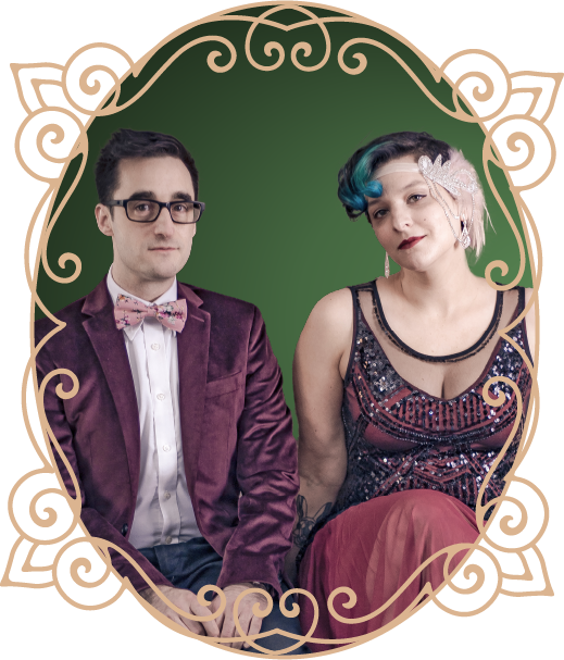 Head Magicians Brian and Annie in an oval scroll frame