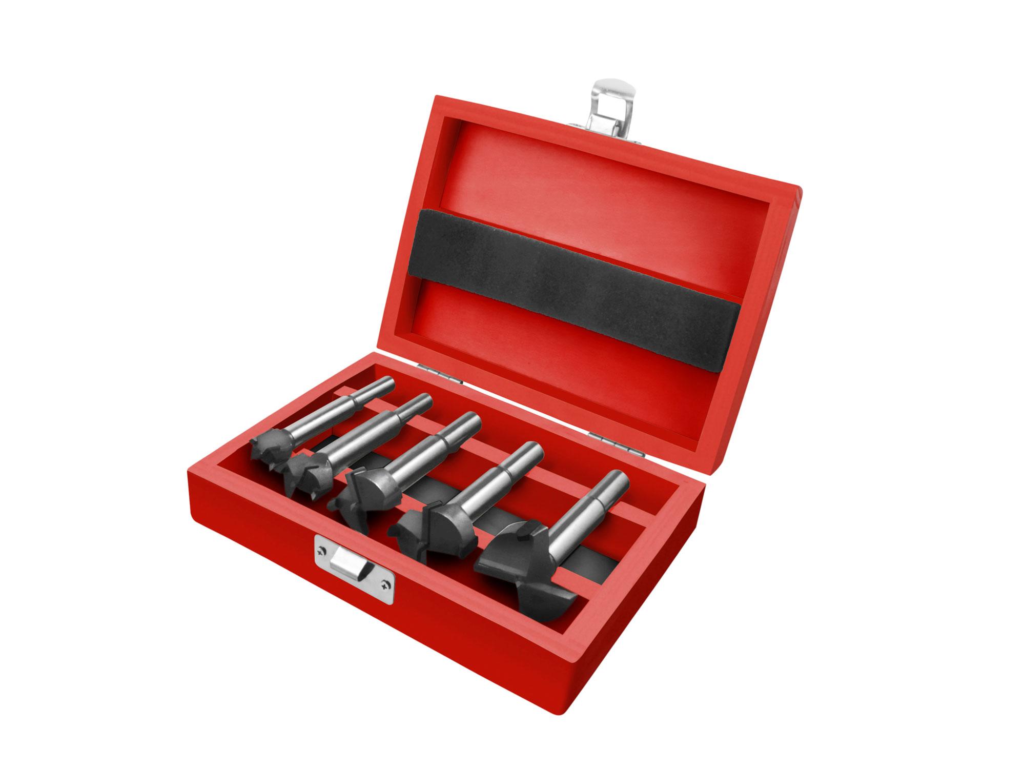 5pcs Forstner Bits Set with Carbide Tips, 15-20-25-30-35mm Dia., Shank 8-10mm