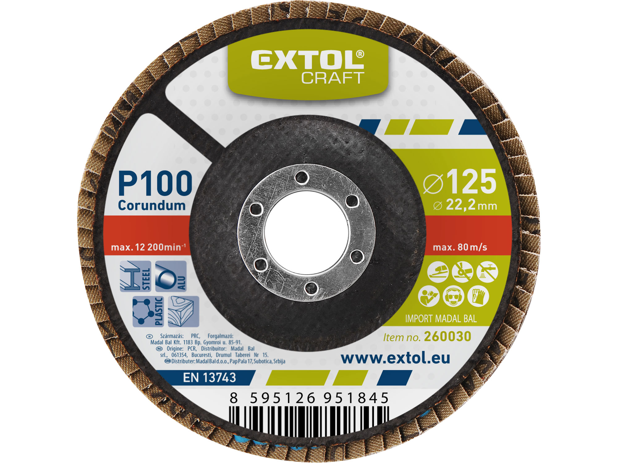 Flap Disc, 125mm Dia, P100
