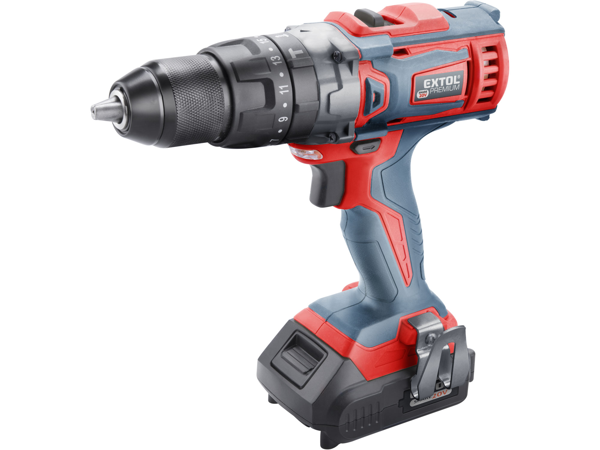 Cordless Drill, SHARE20V with hammer function, 2x2000mAh Batteries