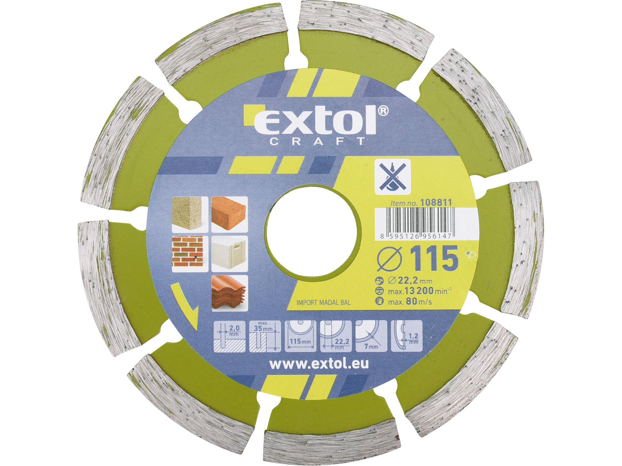 115mm Diamond Cutting Disc, Dry Type, 115mm Dia, 22.2mm ID, 2mm thk