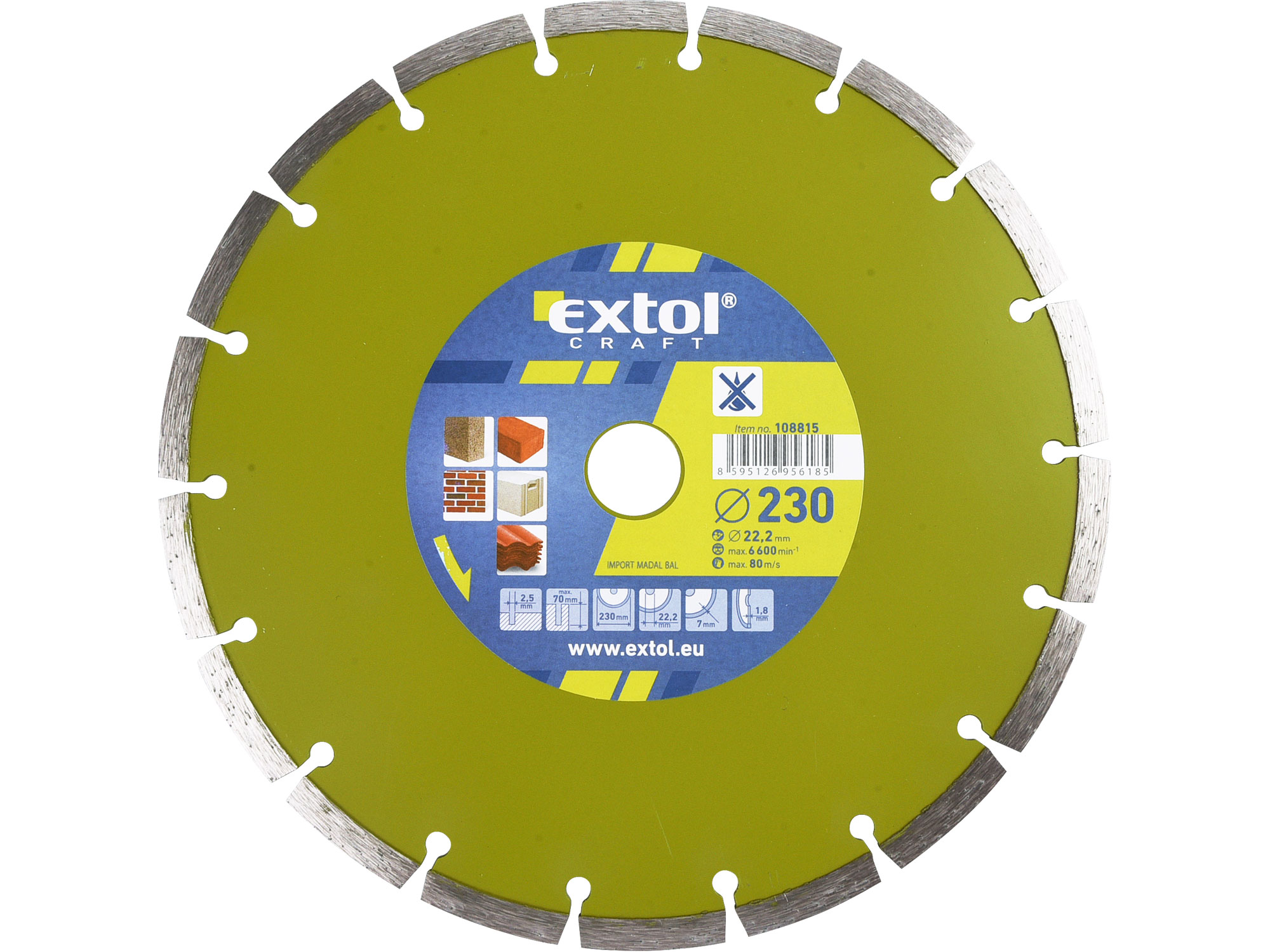 230mm Diamond Cutting Disc, Dry Type, 230mm Dia. 22.2mm ID, 8mm thk