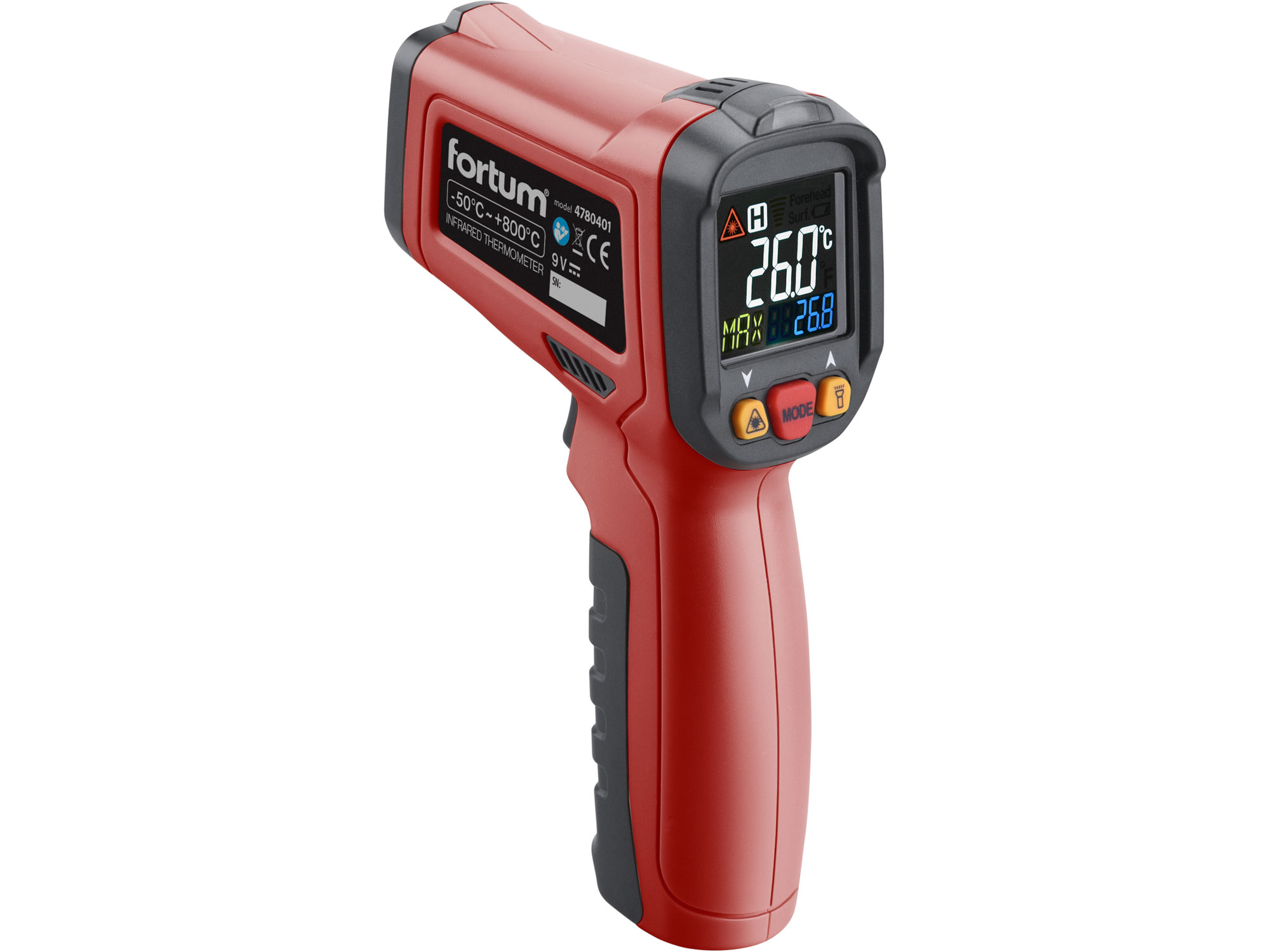 Non-contact Infrared Thermometer, -50°-800°C, -50 to 800 Deg. C