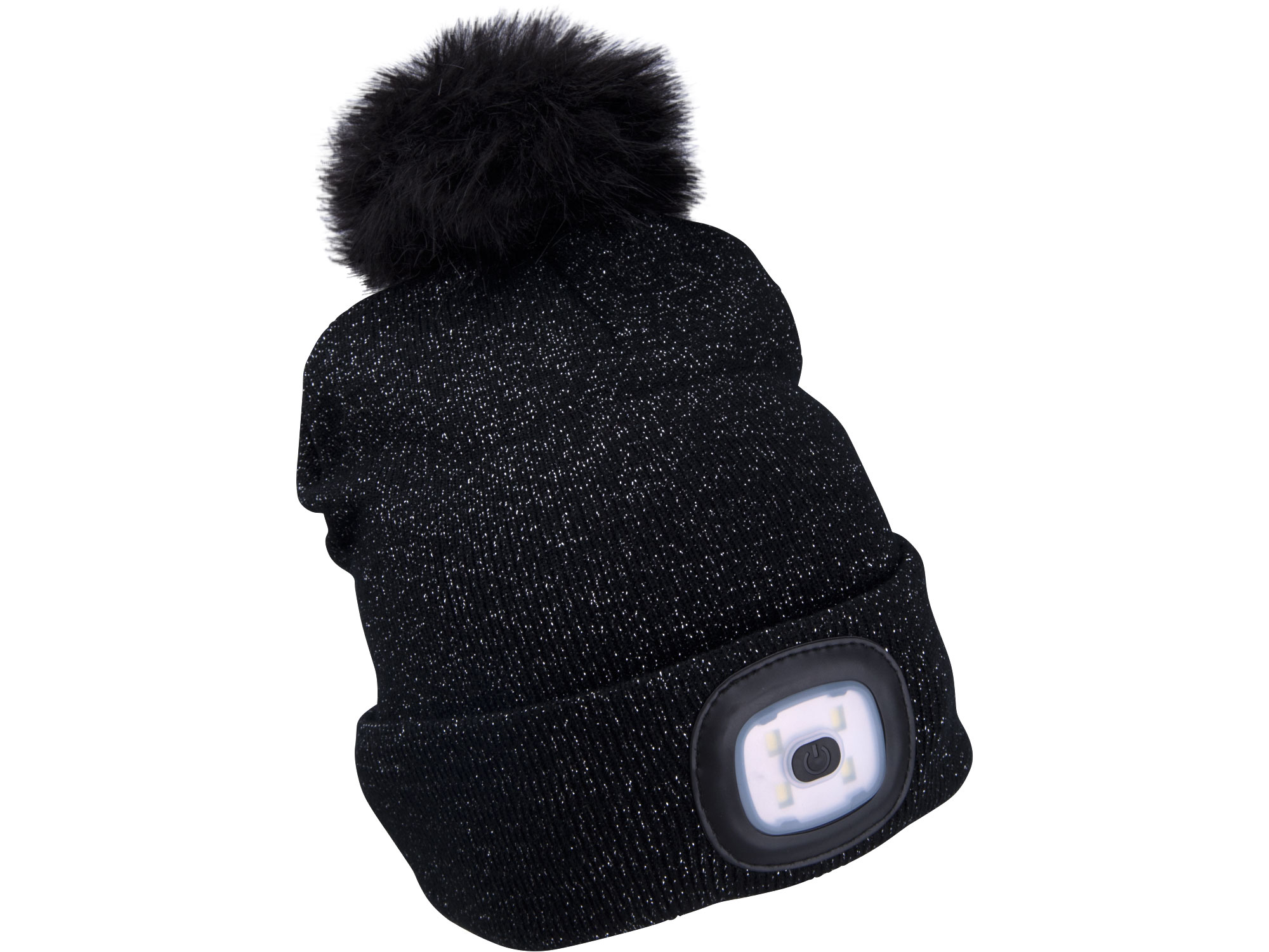 Grey/Black beanie with rechargeable LED light and pompom