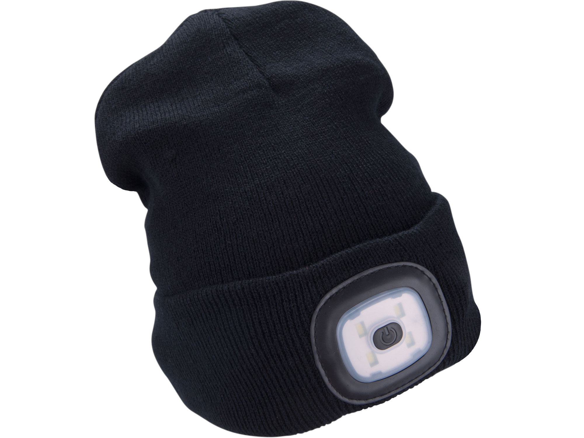 Black beanie with rechargeable LED light, One size fits all