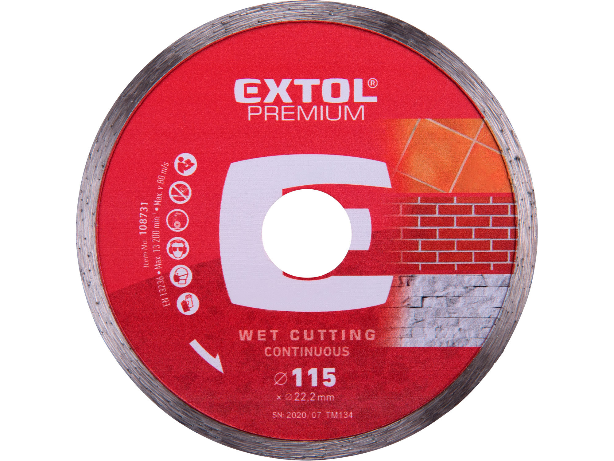 115mm Diamond Cutting Disc, Wet Type, 115mm Dia. 22.2mm ID, 2mm thk