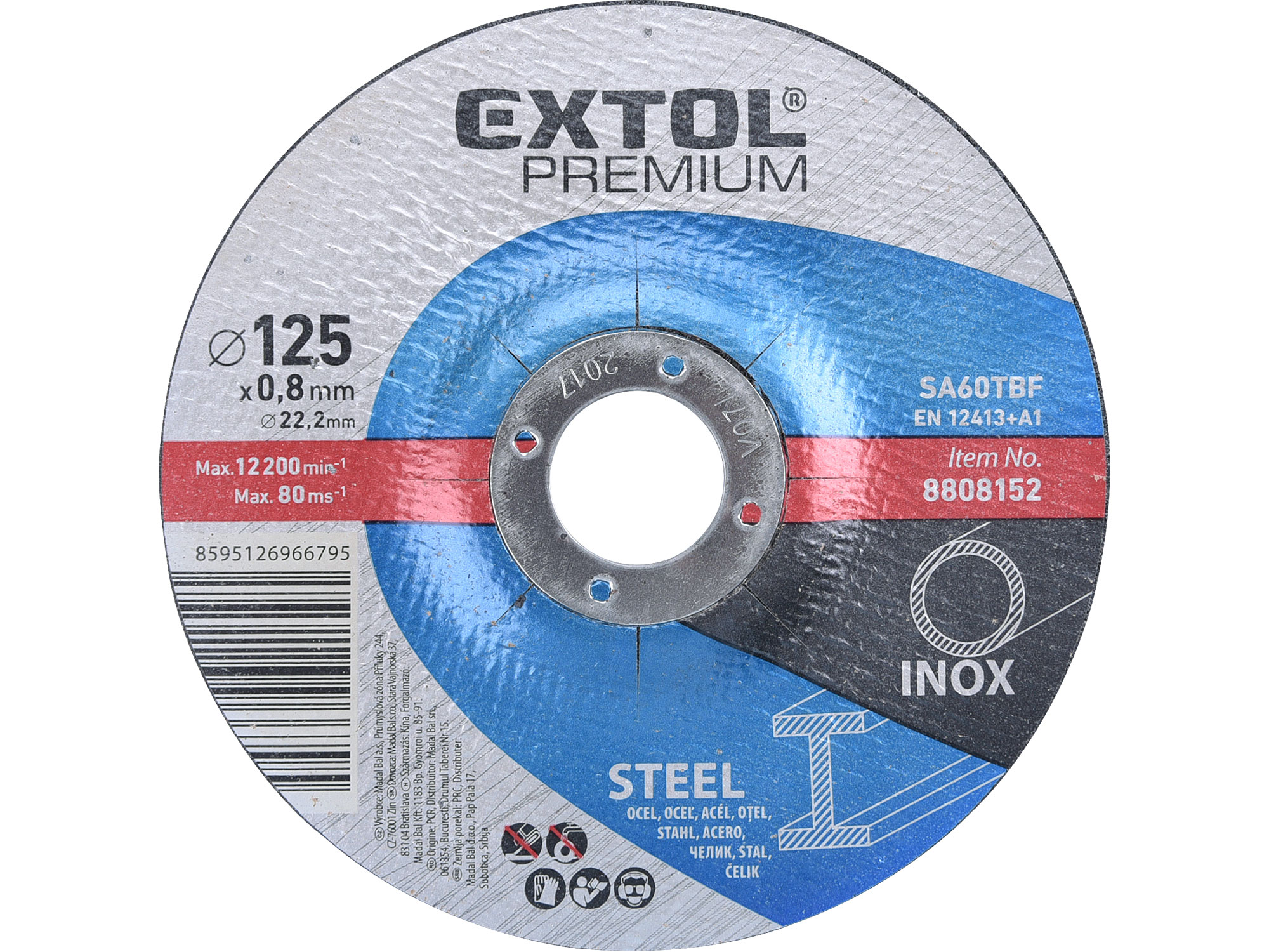 cutting wheel for steel/stainless steel 125x0,8x22,2mm