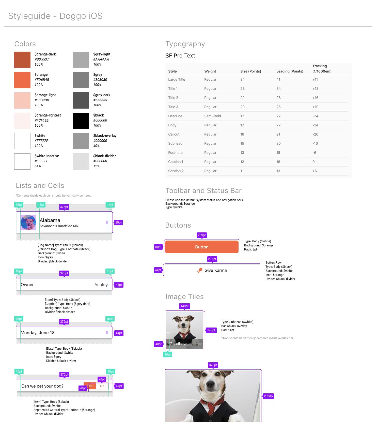 Doggo iOS Style Guide