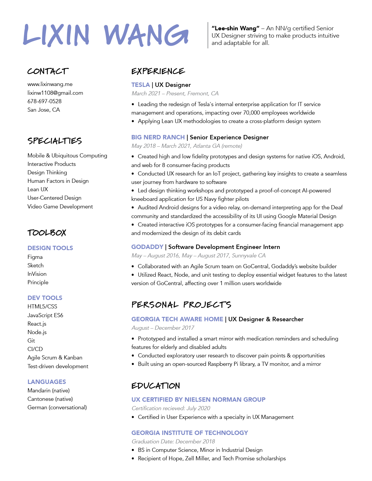 Lixin Wang's resume