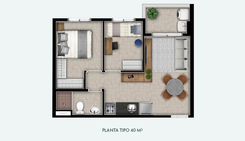 Planta Tipo 40 m²