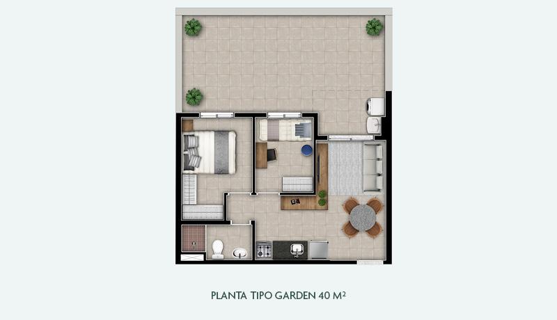 Planta Tipo Garden 40 m²