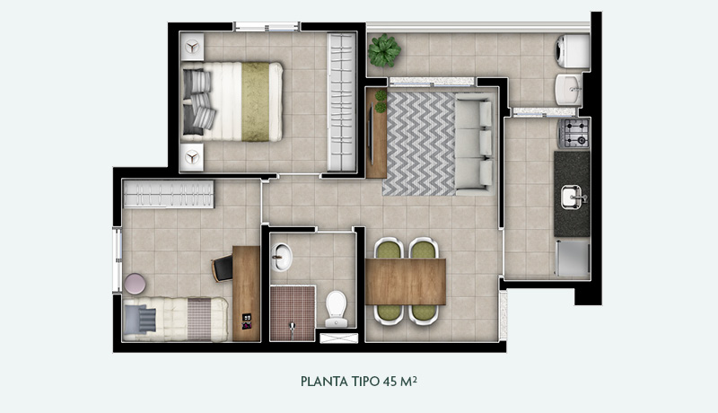 Planta Tipo 45 m²