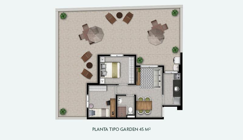 Planta Tipo Garden 45 m²