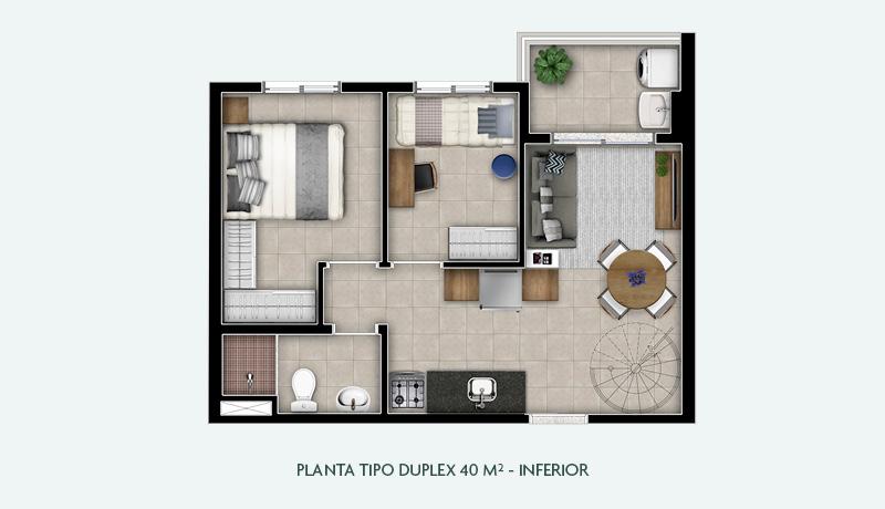Planta Tipo Duplex 40 m² - Inferior